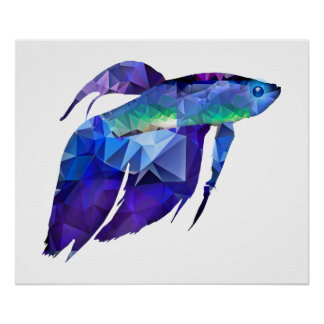 Beta Fish for Polygon Mosaic Blue Poster