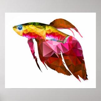 Beta Fish for Polygon Mosaic Pink Poster