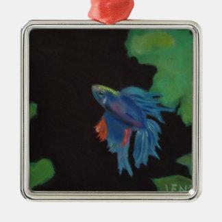 beta fish metal ornament