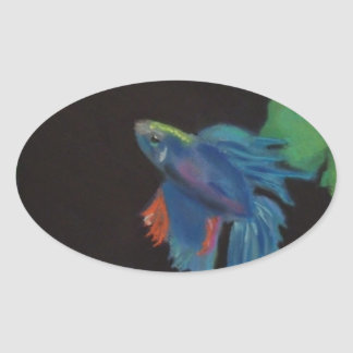 beta fish oval sticker