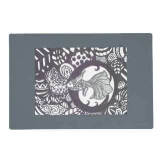 Beta fish/palm tree tangle placemat