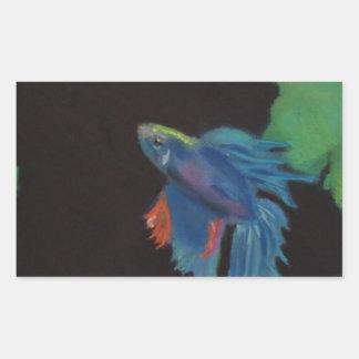 beta fish rectangular sticker