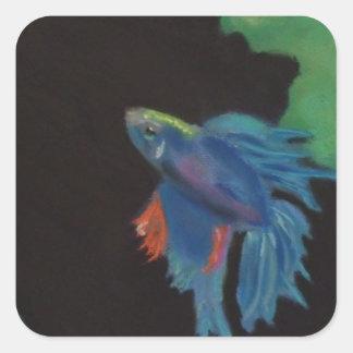 beta fish square sticker