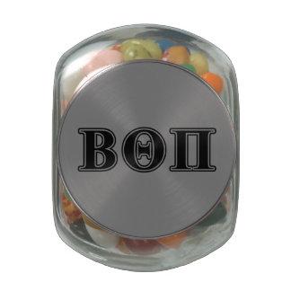 Beta Theta Pi Black Letters Glass Candy Jars