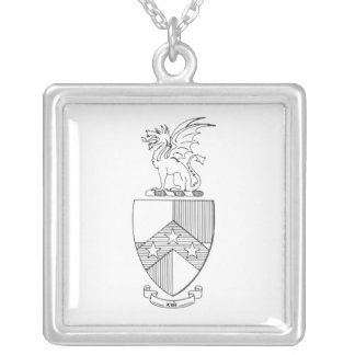 Beta Theta Pi Coat of Arms Square Pendant Necklace