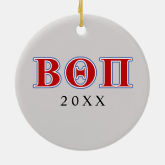 Beta Theta Pi Red and Blue Letters Ceramic Ornament