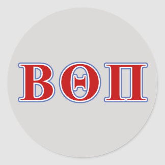 Beta Theta Pi Red and Blue Letters Classic Round Sticker