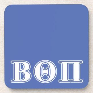 Beta Theta Pi White and Blue Letters Beverage Coaster
