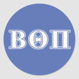 Beta Theta Pi White and Blue Letters Classic Round Sticker