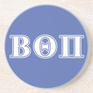 Beta Theta Pi White and Blue Letters Sandstone Coaster