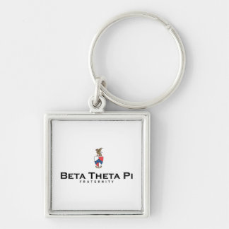 Beta Theta Pi with Crest - Color Silver-Colored Square Keychain
