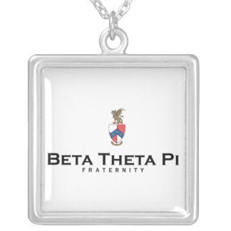 Beta Theta Pi with Crest - Color Square Pendant Necklace