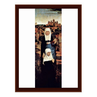 Betende Founder With Saints By Memling Hans Postcard