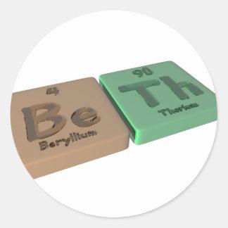 Beth as Beryllium Be and Thorium Th Classic Round Sticker