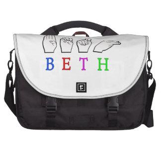 BETH ASL FINGERSPELLED NAME SIGN LAPTOP BAG