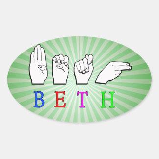 BETH ASL FINGERSPELLED NAME SIGN OVAL STICKER