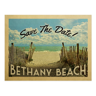Bethany Beach Save The Date Vintage Beach Nautical Postcard