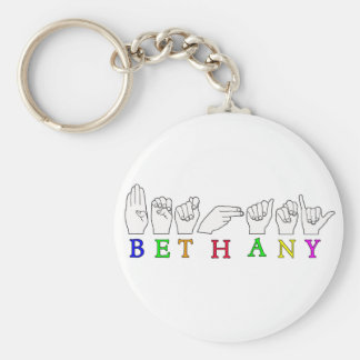 BETHANY NAME ASL FINGERSPELLED SIGN BASIC ROUND BUTTON KEYCHAIN