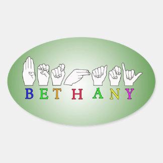 BETHANY NAME ASL FINGERSPELLED SIGN OVAL STICKER