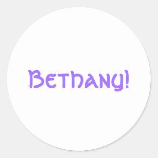¡Bethany! Pegatina Redonda