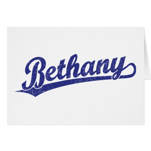 Bethany script logo in blue greeting card