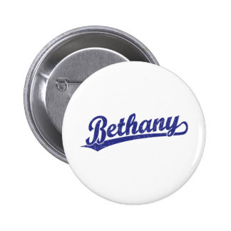Bethany script logo in blue pinback button