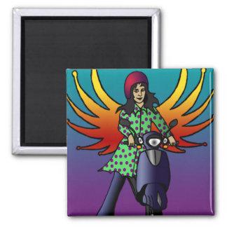 Bethel The Biker Fairy, square magnet