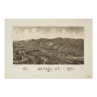 Bethel Vermont 1886 Antique Panoramic Map Poster