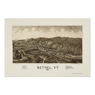 Bethel, VT Panoramic Map - 1886 Print