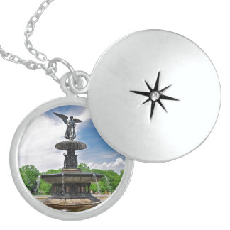 """Bethesda """"Angel of the Waters"""" Central Park, NYC Locket Necklace"""
