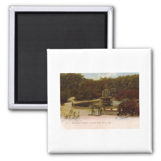 Bethesda Fountain, Central Park, New York 1905 Vin 2 Inch Square Magnet