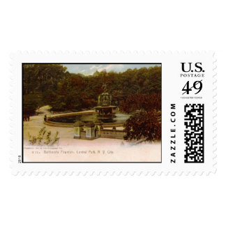 Bethesda Fountain, Central Park, New York 1905 Vin Stamp