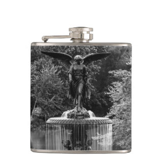 Bethesda Fountain in Central Park Photo Hip Flask