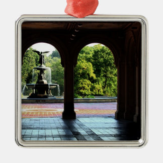 Bethesda Terrace in New York Central Park Photo Square Metal Christmas Ornament