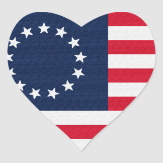 Betsy Ross 13 Stars American Flag Heart Sticker