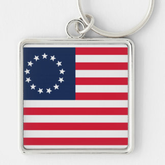 Betsy Ross 13 Stars American Flag Silver-Colored Square Keychain