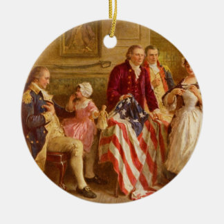 Betsy Ross 1777 by Jean Leon Gerome Ferris Double-Sided Ceramic Round Christmas Ornament