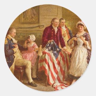 Betsy Ross 1777 de Jean León Gerome Ferris Pegatina Redonda