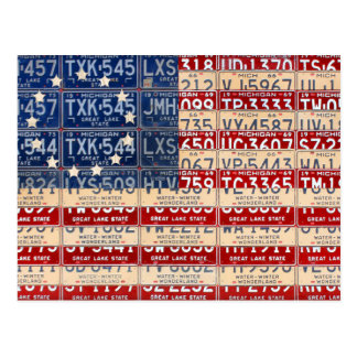 Betsy Ross American Vintage Flag License Plate Art Postcard