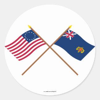 Betsy Ross cruzado y regimiento de New Hampshire Etiquetas Redondas