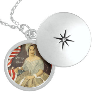Betsy Ross First American Flag Vintage Portrait US Locket Necklace
