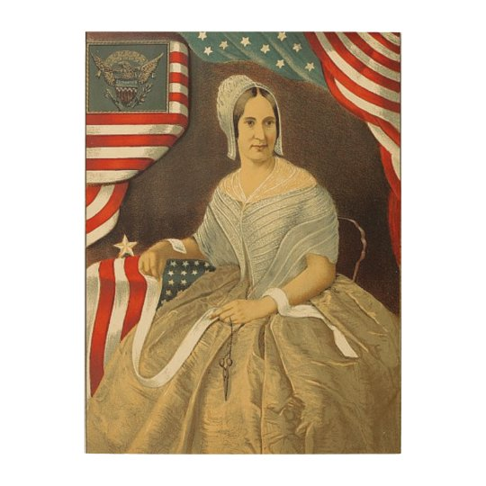 picture about Betsy Ross Printable Pictures known as Betsy Ross Very first American Flag Typical Portrait US Picket Print