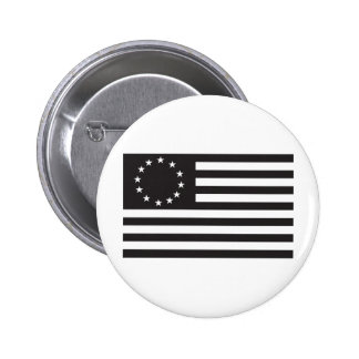 Betsy Ross Flag - Black 2 Inch Round Button