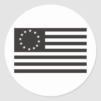 Betsy Ross Flag - Black Classic Round Sticker