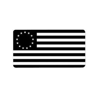 Betsy Ross Flag, Black Line Art Label