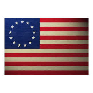 Betsy Ross Flag Canvased Antiqued Print
