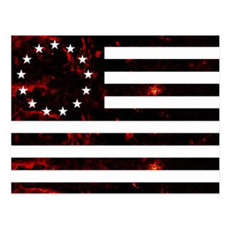 Betsy Ross Flag, Fiery Line Art Postcard