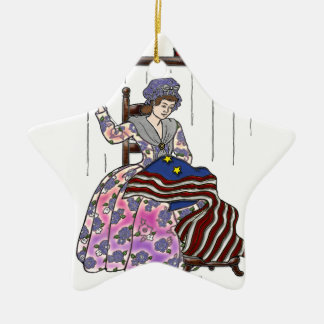Betsy Ross Makes a Flag July 4th Double-Sided Star Ceramic Christmas Ornament