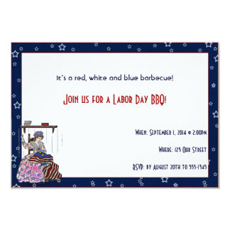 Betsy Ross Makes a Flag Labor Day Party 3.5x5 Paper Invitation Card