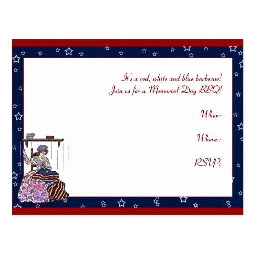 Betsy Ross Makes a Flag Memorial Day Postcard